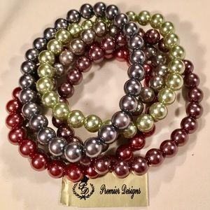 Pearl Soirée- set of 5 faux pearl bracelets